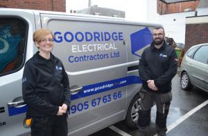 Amy Lister next to Goodridge van
